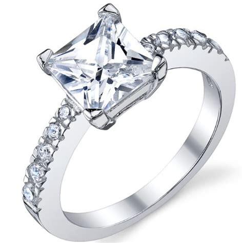 1 25 carat princess cut cubic zirconia cz sterling silver