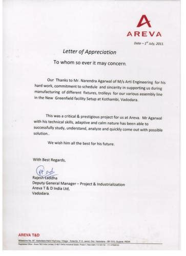 appreciation letter for conducted arti engineering manufacturer from vadodara india profile
