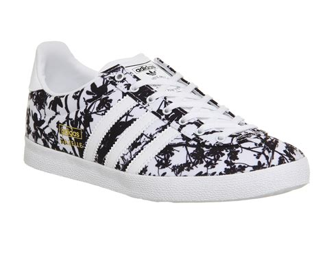 Black And White Patterned Adidas Trainers | womens adidas gazelle og white black floral print trainers