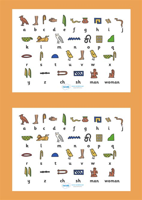 printable egyptian alphabet ancient egyptian hieroglyphs sheet free printable ks2