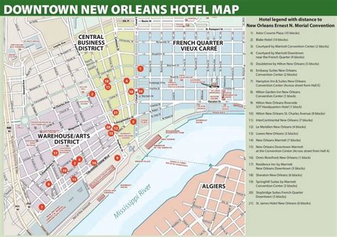 map of new orleans hotels near convention center new orleans hotel map