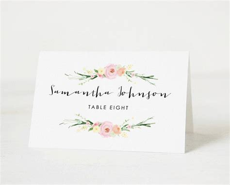 editable name card template free print printable place card template wedding place cards