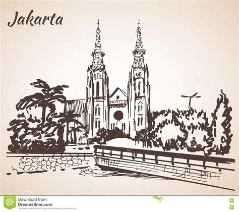 sketchbook jakarta jakarta cathedral sketch stock vector image 80087901
