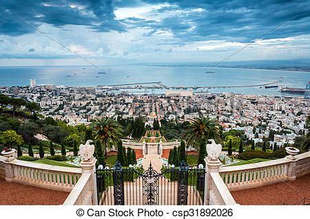 porto di israele archivi fotografici di giardino haifa panorama