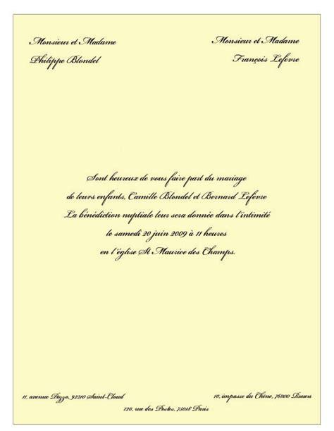 Modèle De Lettre D Invitation Pour Un Mariage Faire Part Mariage