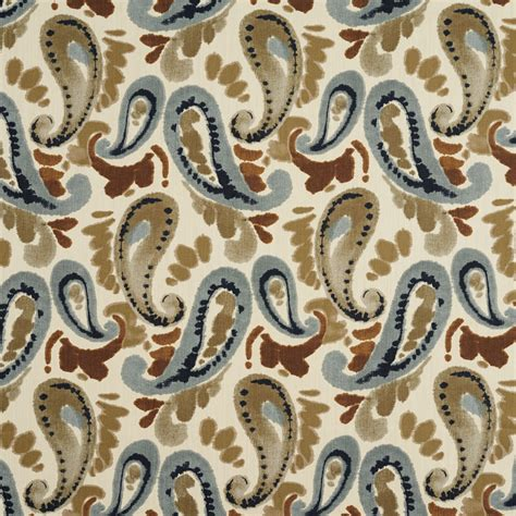 watercolor upholstery fabric beige blue and brown abstract watercolor paisley print