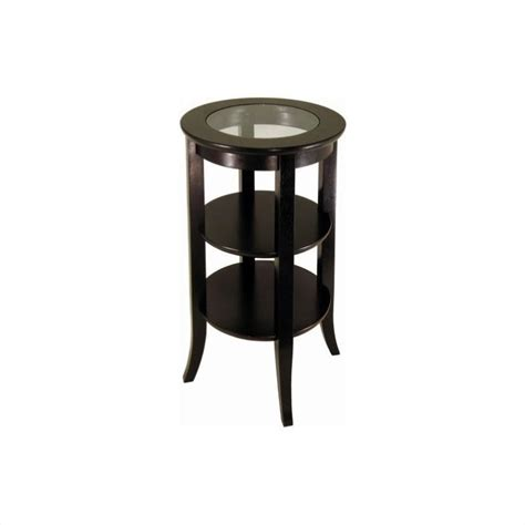 End Tables With Glass Top by Espresso Wood End Table With Glass Top 92318