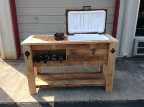 Cooler Patio Table Barn Wood Cooler Table With Wine Chill And Notched Storage Area Great Bottom Shelf For