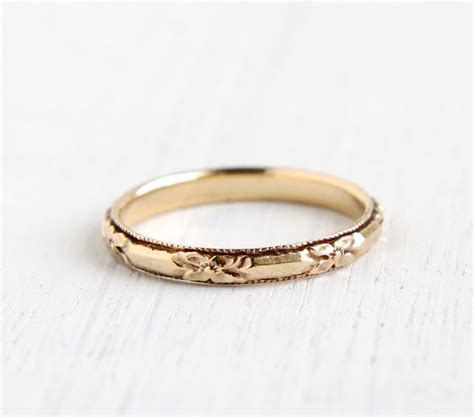 antique 14k yellow gold wedding band ring deco 1930s