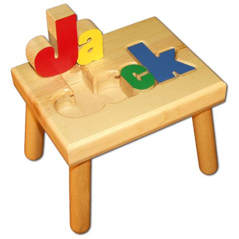 Personalized Wooden Puzzle Step Stool by Personalized Puzzle Stool For Matttroy