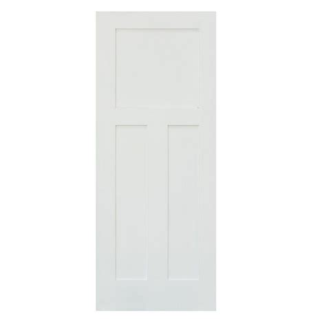 Three Panel Door Interior Krosswood Doors 30 In X 80 In Craftsman Shaker 3 Panel Primed Solid Mdf Interior Door