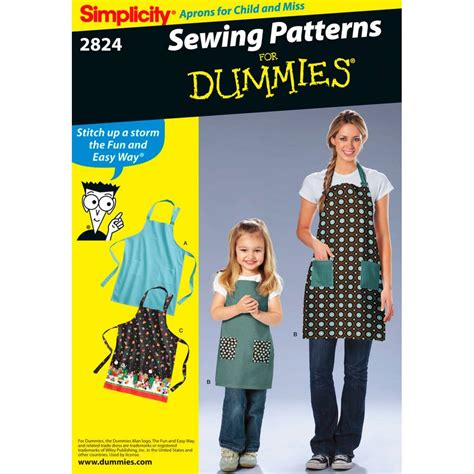 dominion pattern works inc simplicity apron for dummies sewing pattern 2824 hobbycraft