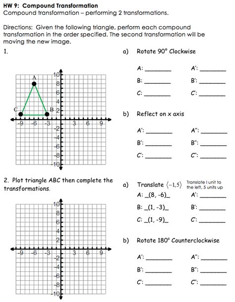 printable transformations quiz transformations worksheet worksheets releaseboard free