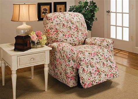 floral slipcover floral jersey recliner stretch slipcover furniture couch