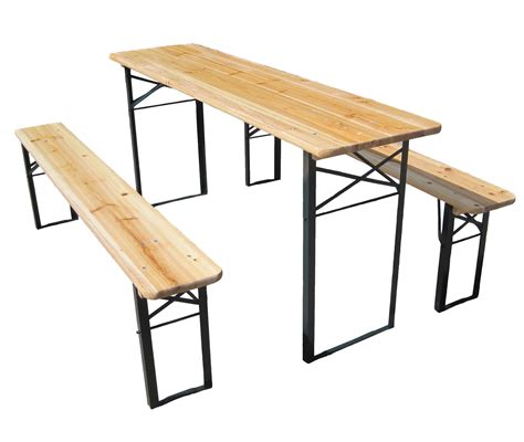 Folding Bench Picnic Table Wooden Folding Table Bench Set Trestle Pub Garden Furniture Steel Leg Ebay