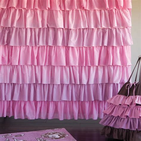 ruffles shower curtain pink ruffled curtains soozone