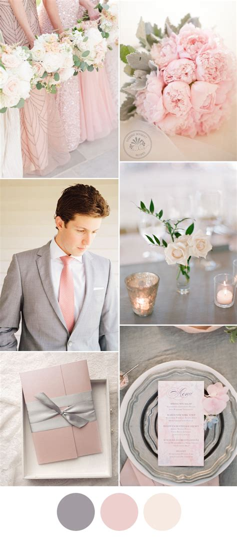 wedding color idea pink and grey white silver oooo now 7 popular wedding color schemes for 2017 elegant weddings