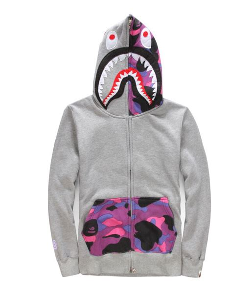 Sweater Jaket A Bathing Bape japan jacket s shark zip hoodie grey bape