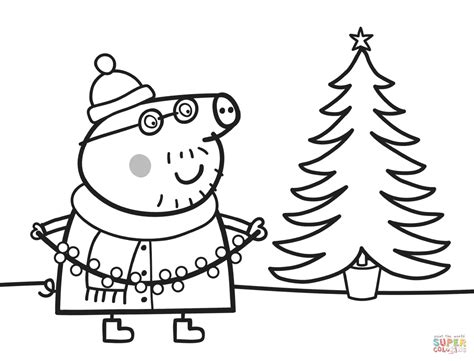 christmas colouring pages peppa pig daddy pig decorates xmas tree super coloring peppa pig