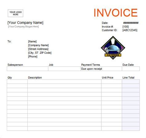 templates for catering invoices catering invoice template 10 free sles exles format