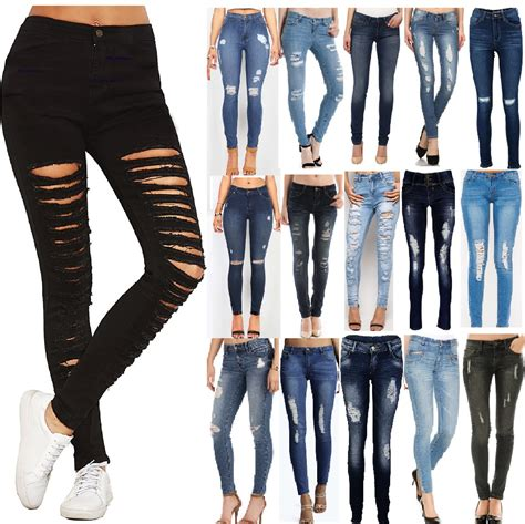 Jegging Zara Ripped new womens ripped knee cut jeggings fit