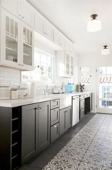 kitchen cabinets white top black bottom white cabinets lower cabinets transitional