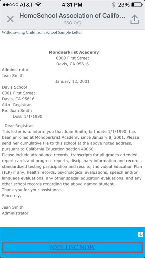 Withdrawal Application Letter From School Sle Letter To Withdraw Your Child From School To Begin Homeschooling Privately