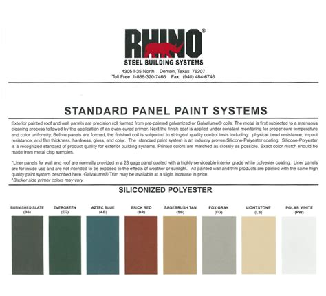 rhino lining colors steel building colors metal building color schemes
