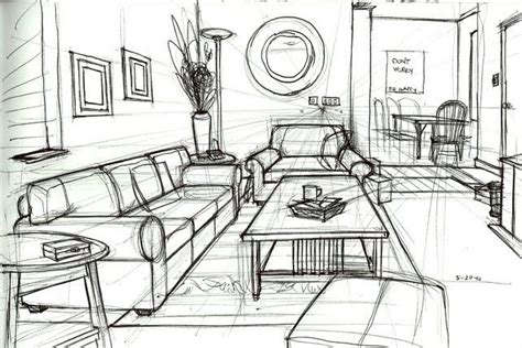 draw a room one point perspective drawing living room google search