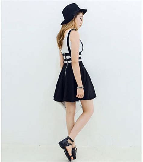 pleated suspender skirt braces hollow out bandage mini