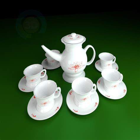 Coffe Set 2 3d model tea set 2 id 10213