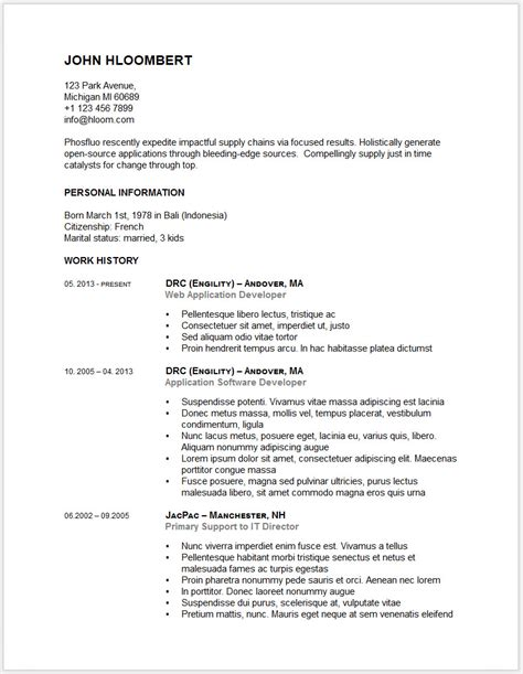 cv templates doc doc resume