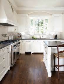 White Kitchen Cabinets Wood Floors White Kitchen With Black Countertops Home Interior