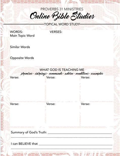 Topical Bible Study Template Free Printable For Your Topical Word Study Proverbs 31 Online Bible Studies Click Here To