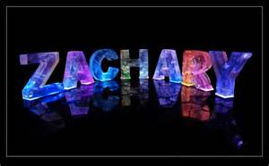 the name zachary in 3d coloured lights