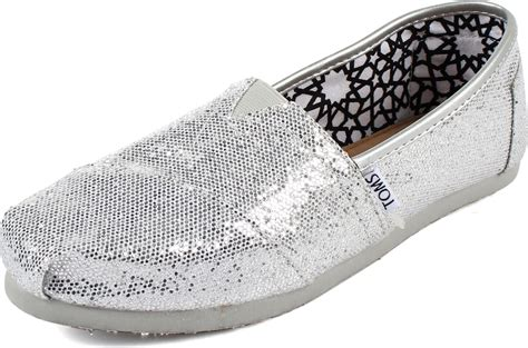 toms glitter shoes for toms womens classic canvas slipon shoes in silver glitter