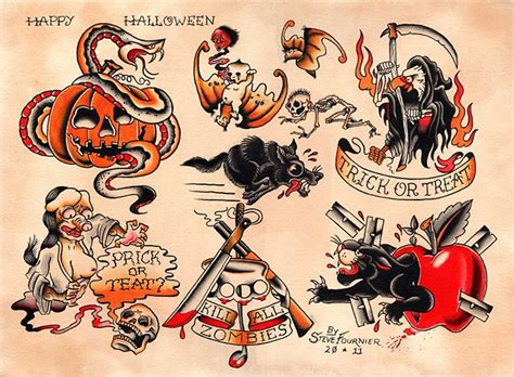 steve fournier tattooer artist halloween 2011 flash sheet