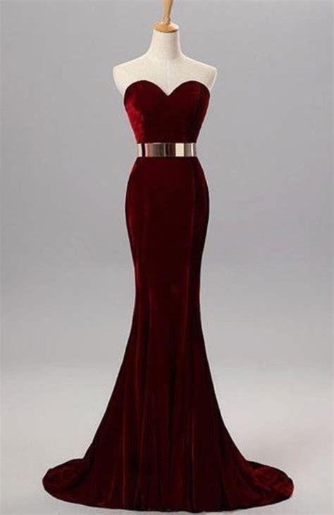 On Sale Ready Velvet Purplepinkred Dress burgundy mermaid sweetheart evening gowns with belt velvet