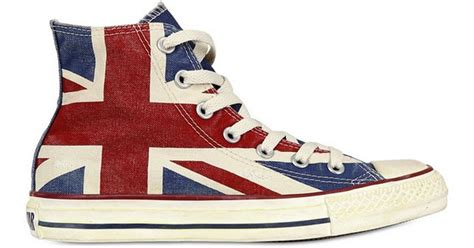 Jual Converse Uk Flag lyst converse uk flag distressed canvas sneakers
