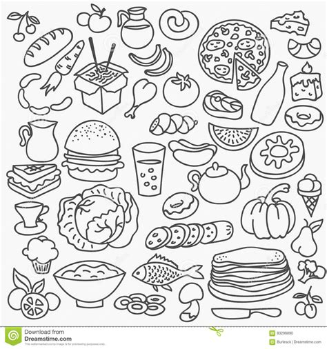 doodle food vector pizza icons vector