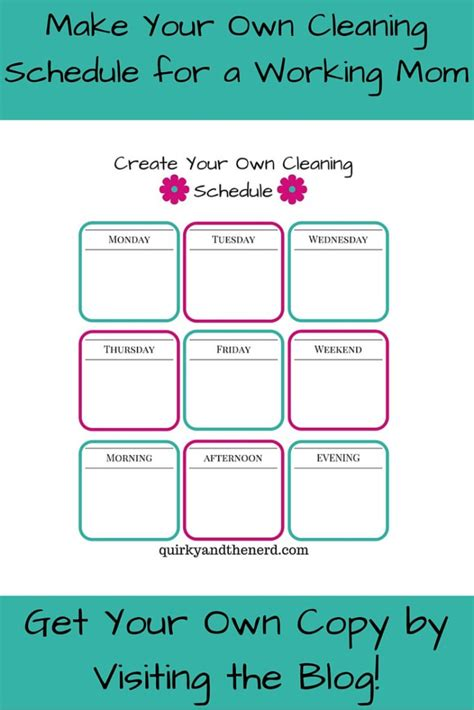 Make Your Own Cleaning Schedule For The Working Mom Quirky And The Nerd Make Your Own Schedule Template