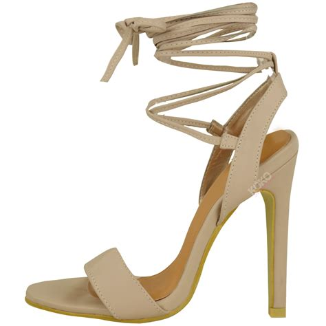 strappy lace up high heels womens new high heels barely there strappy lace tie