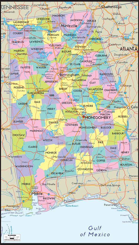 united states county map map of alabama includes city towns and counties