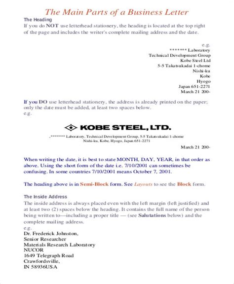 business letter format japan formal business letter exle 7 sles in word pdf