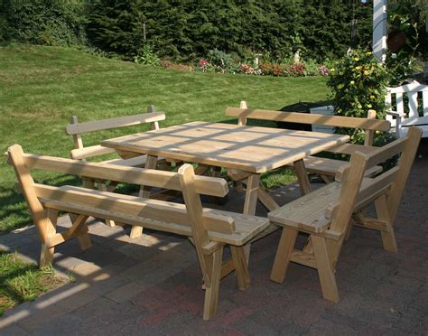 picnic table and bench treated pine wide picnic table w 4 backed benches