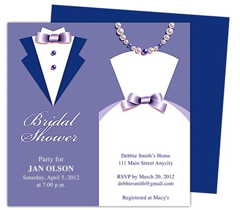 bridal shower invitations template available in blue purple shown green brown and