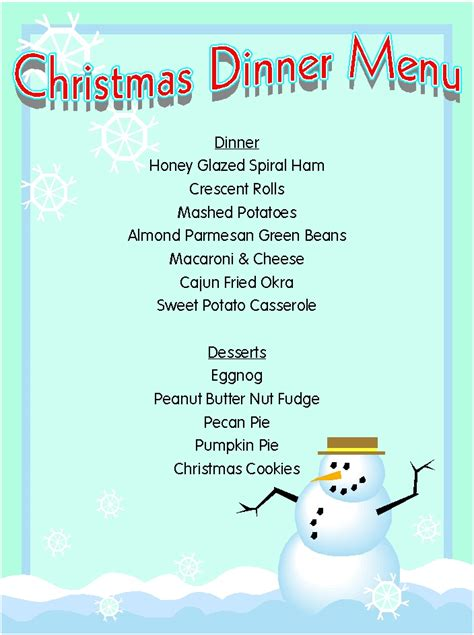 printable christmas menu christmas menu printable template search results