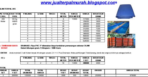 Harga Terpal Kolam A8 jual terpal murah daftar harga kolam terpal a15