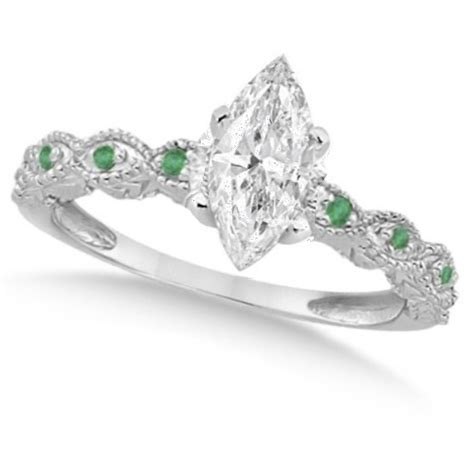 marquise antique emerald engagement ring 14k w