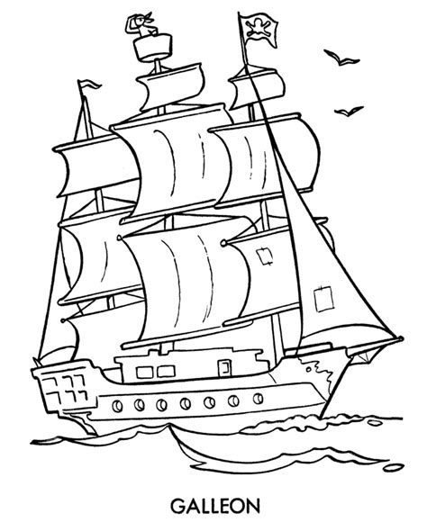 free coloring pages of pirate galleon
